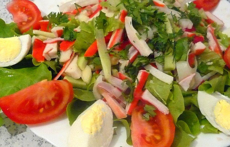 Салат из крабового мяса без майонеза рецепт