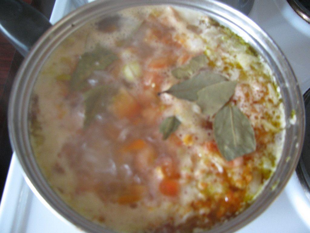 Добавляем в кастрюлю с фрикадельками картофель, морковь, лук и специи по вкусу