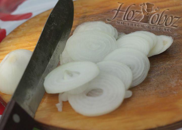 Нарежьте кольцами репчатый лук