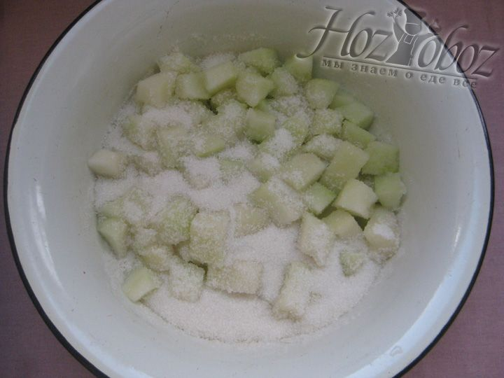 Поместим порезанную дыню в ёмкость, где будем варить варенье, засыпем сахаром, накроем крышкой и будем интенсивно встряхивать для перемешивания. Даём настояться 5 часов, пока дыня не пустит сок, можно оставить на ночь