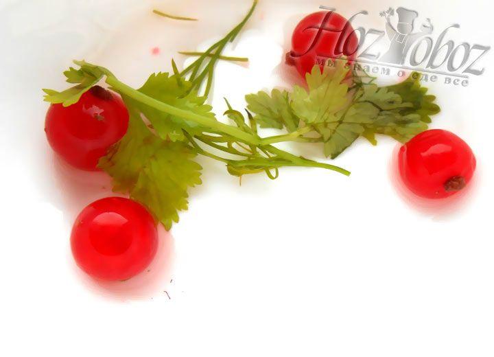 На дно любой глубокой емкости выкладываем несколько ягод и веток зелени