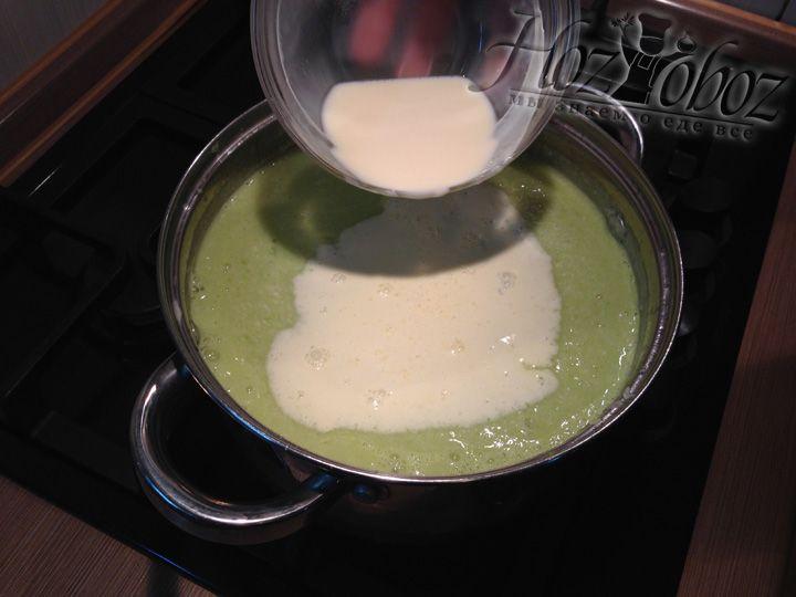 После того как суп закипит добавляем сливки