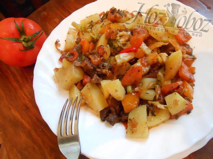 Вот фото мясного рагу с картошкой, которое получилось у нас