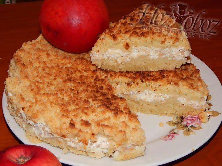 Вот такой яблочно-творожный пирог получился на кухне ХозОбоза
