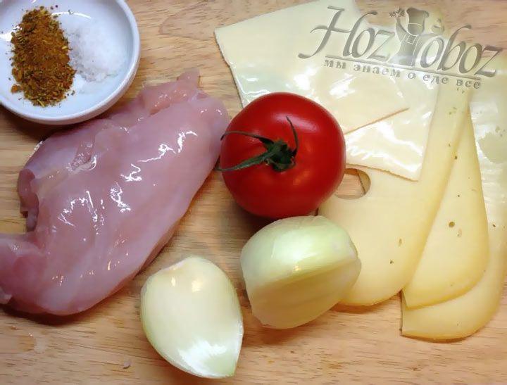 Вначале заготовим все необходимые для приготовления курицы по-французски продукты