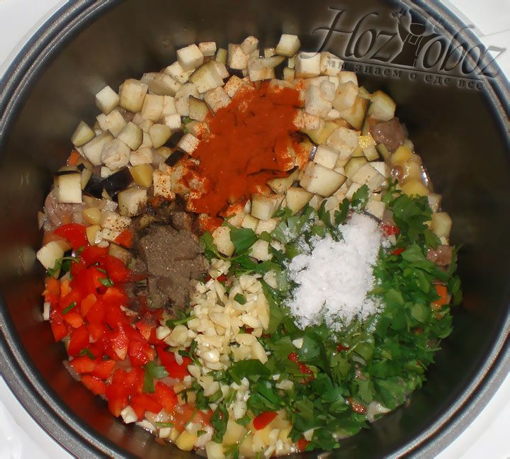 Теперь все эти ингредиенты необходимо добавить в мультиварку, как и несколько видов острого перца с водой