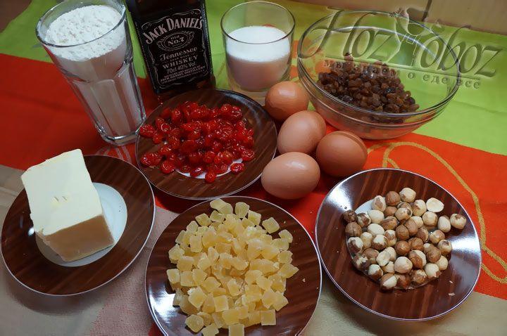 Вначале заготовим все продукты, которые нам понадобятся для приготовления кекса