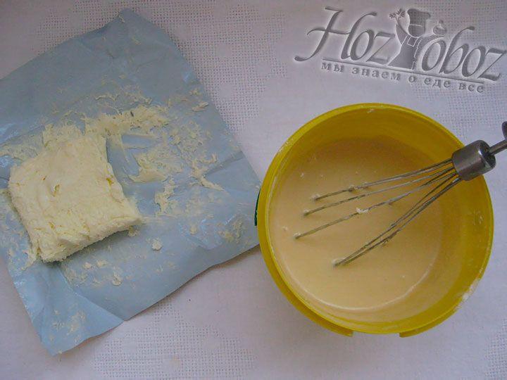 Теперь добавляем размягченное сливочное масло