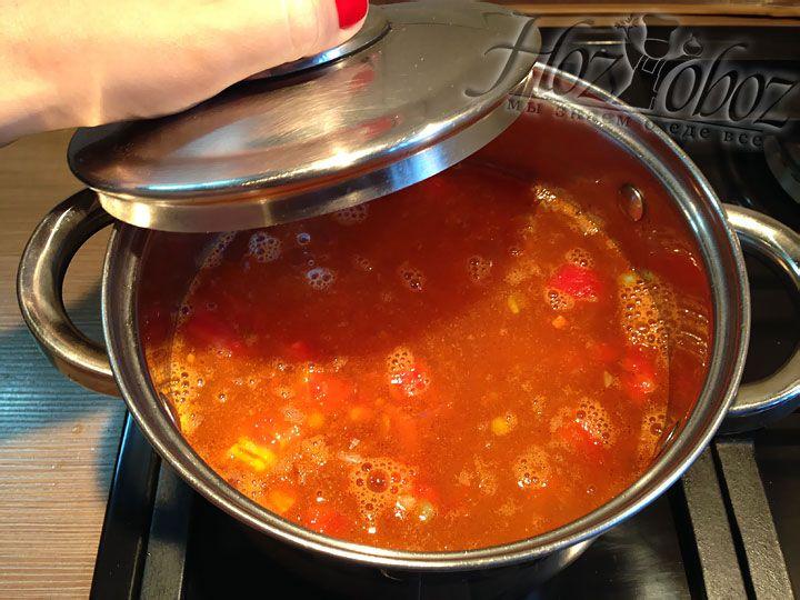 Варить суп следует на маленьком огне, накрыв кастрюлю крышкой
