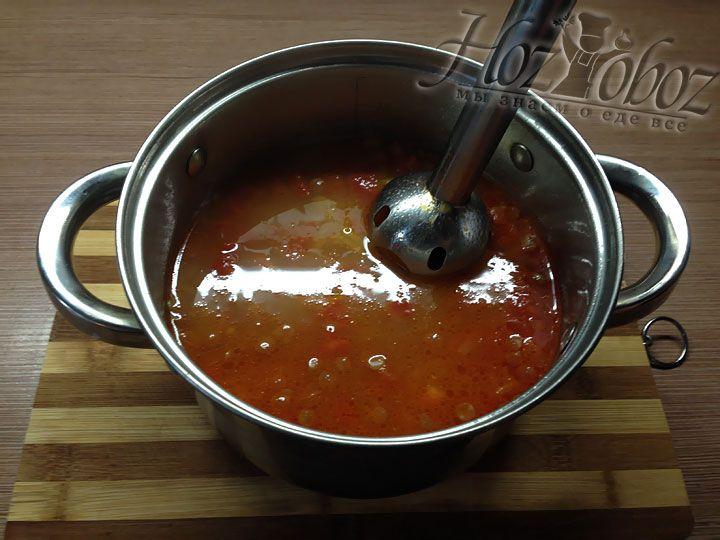 Готовый суп следует пюрировать блендером