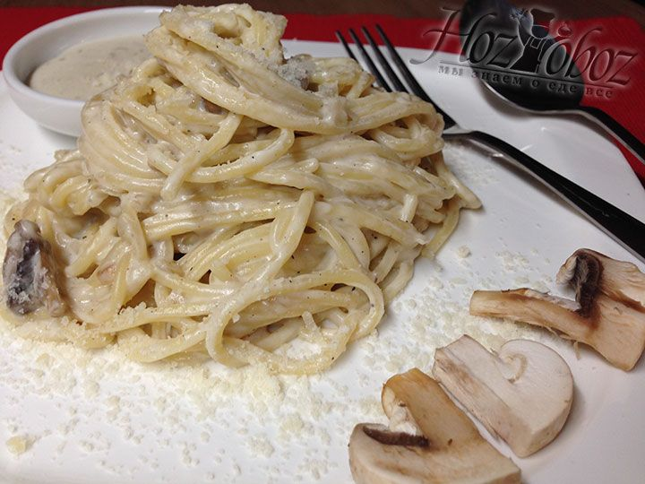 Раскладываем спагетти в тарелки и посыпаем тертым пармезаном. Приятного аппетита!