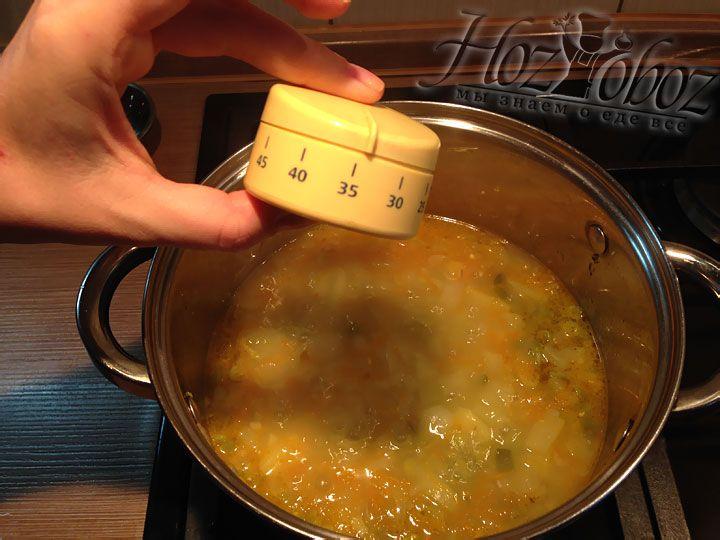 Варить суп следует до готовности гороха, то есть примерно 30-35 минут
