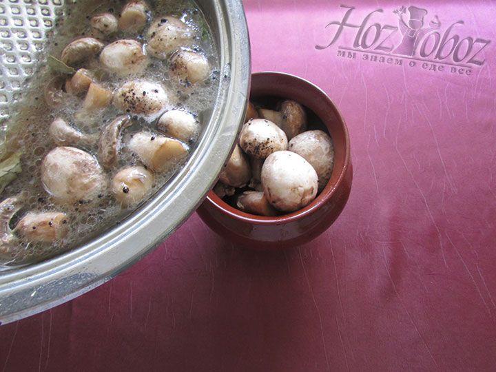 Готовым маринадом заливаем грибы, закатываем их консервным ключом и помещаем в холодное место