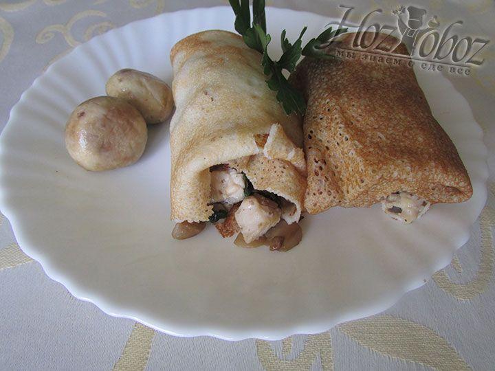 Вкуснейшие блины с курицей и грибами готовы - зовите всех к столу