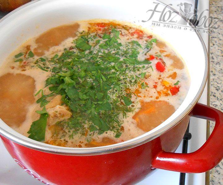 Как только добавим зелень выключаем горелку и даем супу настояться не менее 10 минут. Кстати, для получения супа пюре достаточно просто перемолоть все ингредиенты блендером