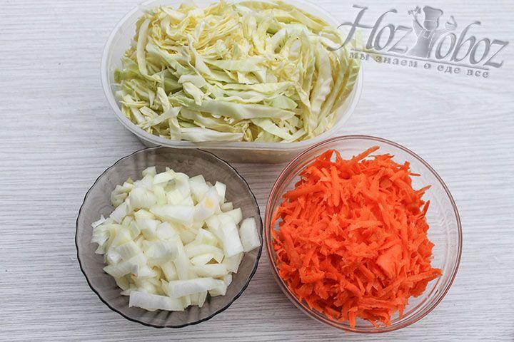 Моем овощи и измельчаем их привычным способом