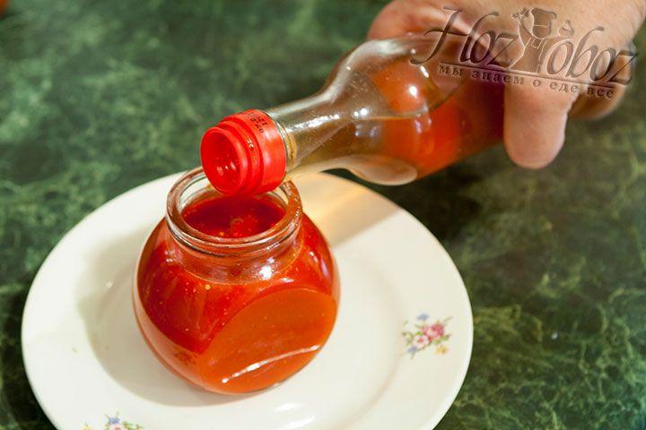 Для придания финальных аккордов вкуса дольем в баночку немного фруктового уксуса и хорошенько встряхнем сосу