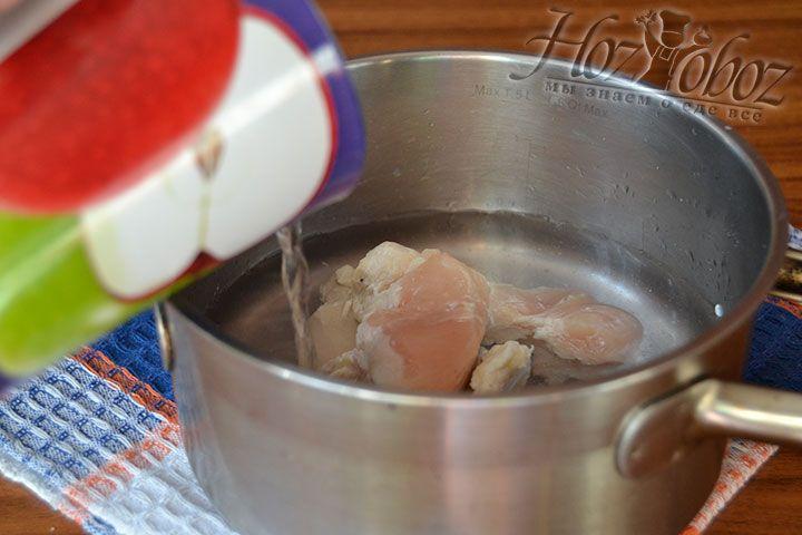 Тщательно вымытое куриное филе залейте водой