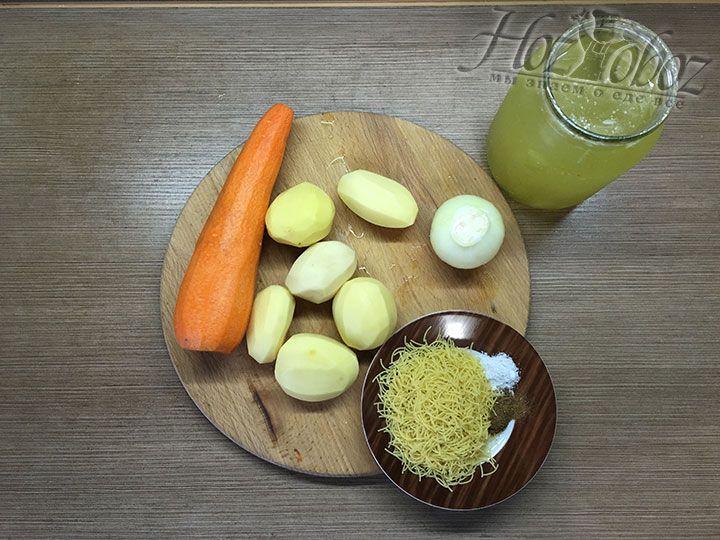 Заготовим необходимые для приготовления супа продукты