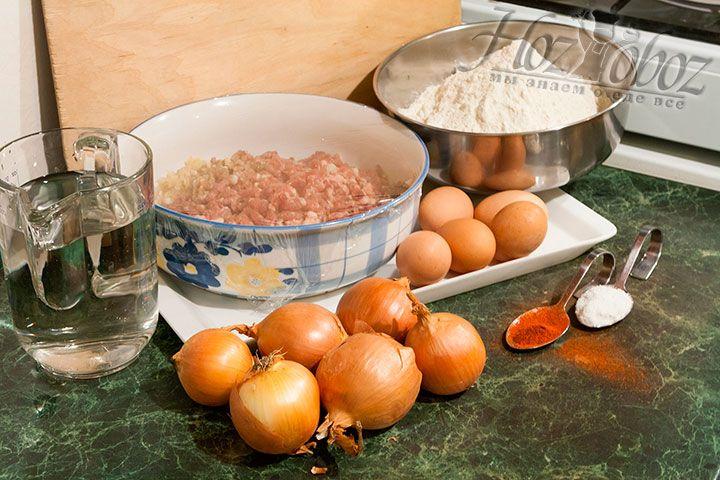 Все продукты, которые необходимы для того, чтоб приготовить манты