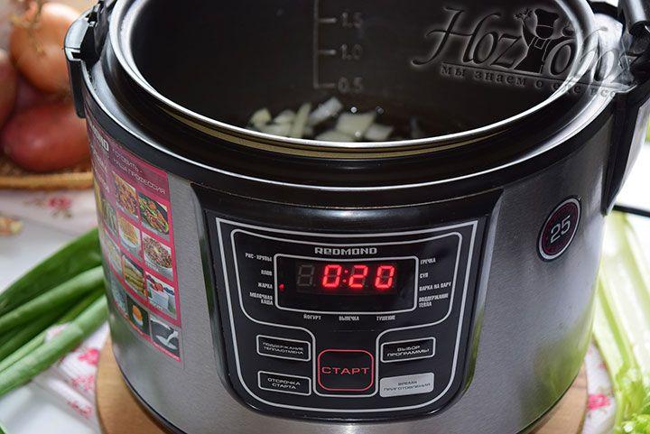 В чашу мультиварки наливаем растительное масло, разогреваем его и всыпаем лук. Устанавливаем режим жарка и время приготовления - 20 минут