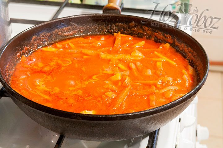 Готовую заправку вольём в суп
