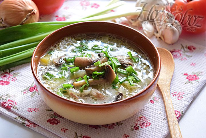 Разливаем суп по тарелкам, посыпаем нарезанным зеленым лучком и все к столу!