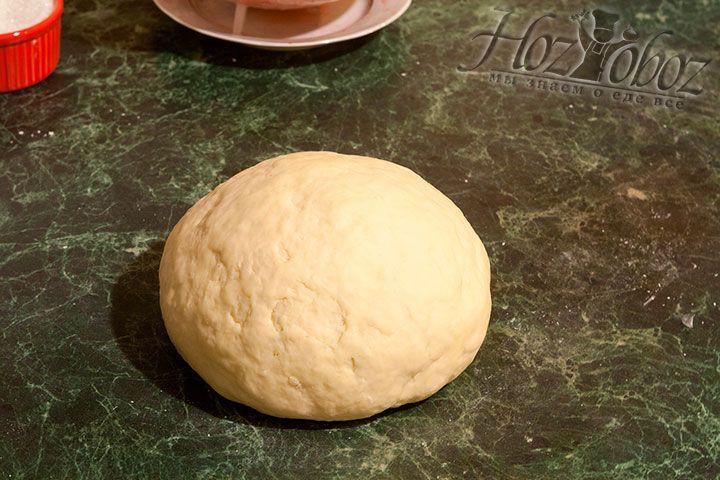 Вымесим тесто, отобьем его о рабочую поверхность и оставим отдохнуть на 20-30 минут накрыв полотенцем или миской