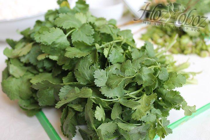 Подготовим зелень: кинзу, перья зеленого лука, укропа