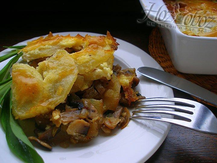 Запеканка картофельная с грибами в духовке, фото очень аппетитное