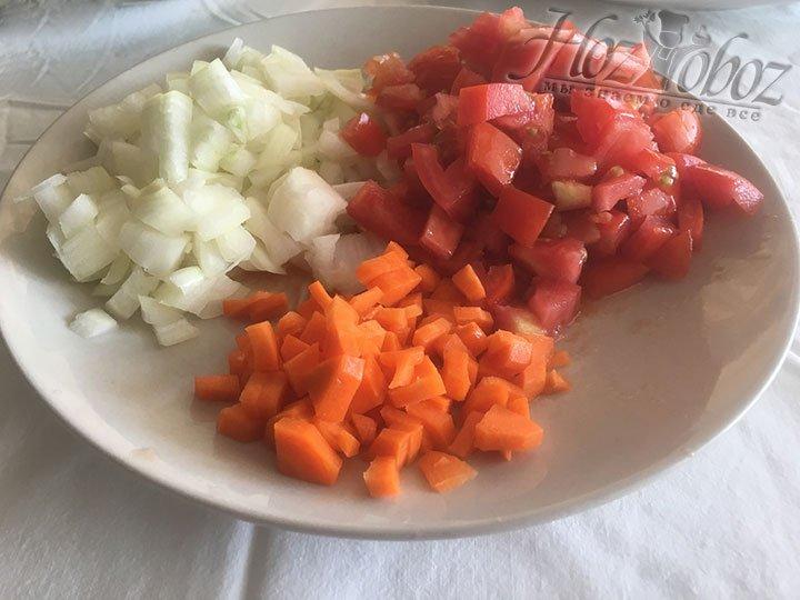 Небольшими кубиками порежем томаты, лук и морковь