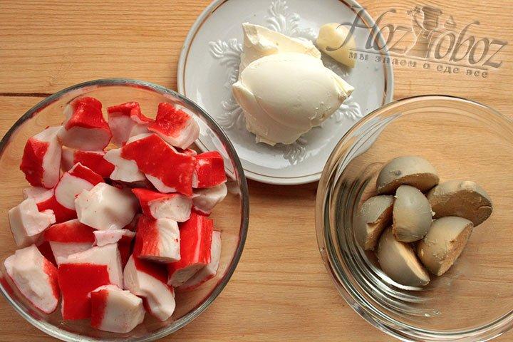 Продукты для начинки – творожного крема с крабом