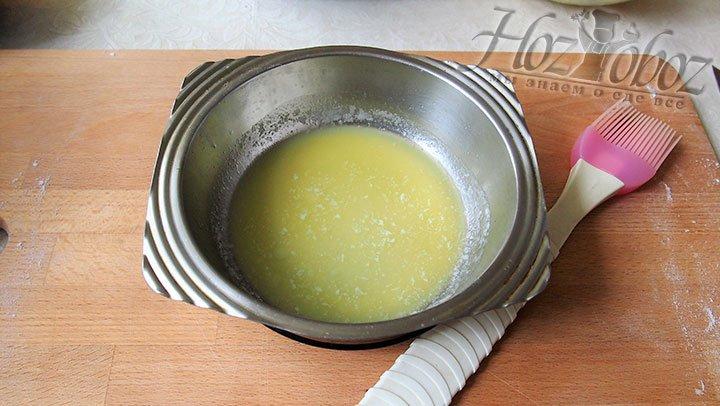 Масло растопим до состояния жидкости