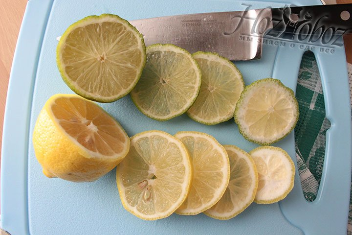 Нарезка лайма и лимона