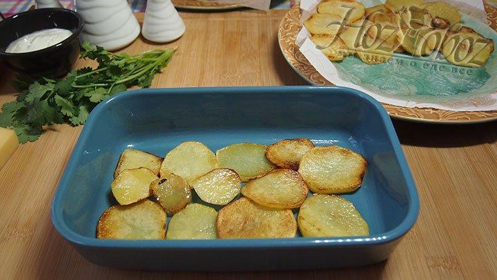 На дно смазанной маслом формы для запекания выкладываем картофель, солим