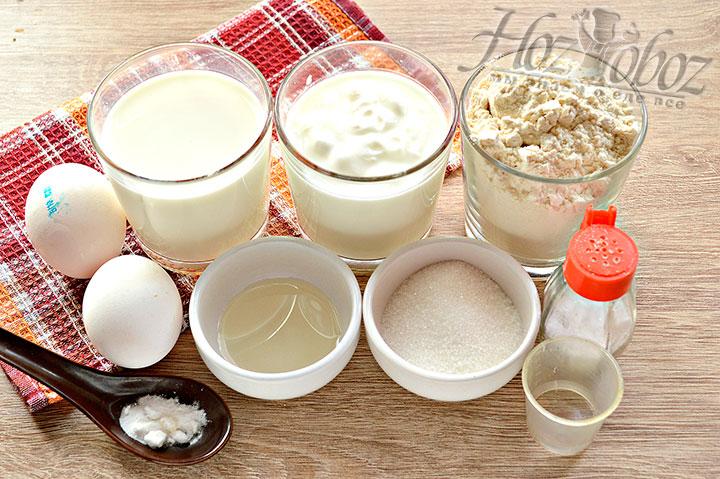 Для выпечки блинов берем нужное количество ингредиентов