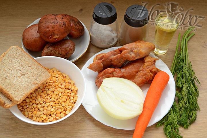 Подготовим все ингредиенты для супа, и прежде всего еще с вечера замочим горох