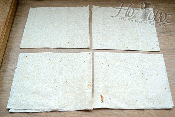 Лаваш нарежем квадратами 15 на 15 см