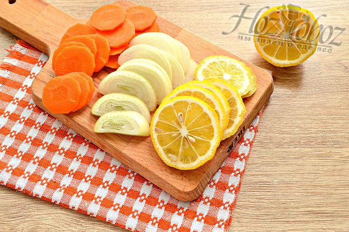 Кольцами режем лимон