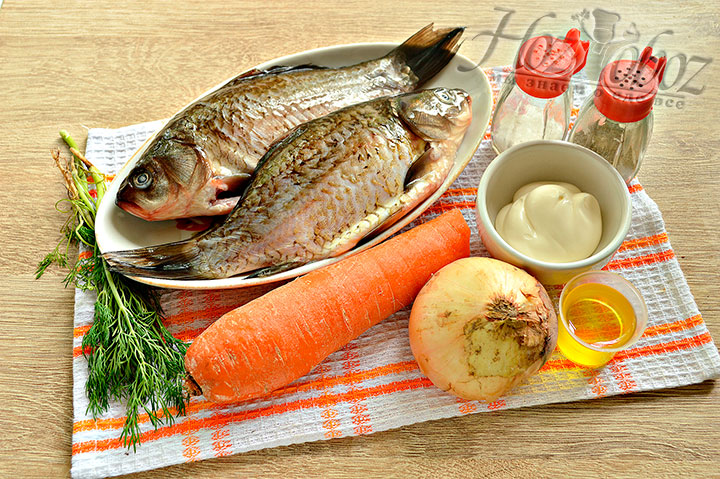 Для рыбного кушанья подготавливаем нужные ингредиенты