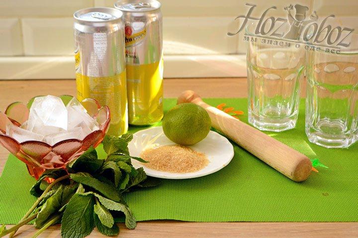 Готовим ингредиенты для приготовления коктейля мохито.