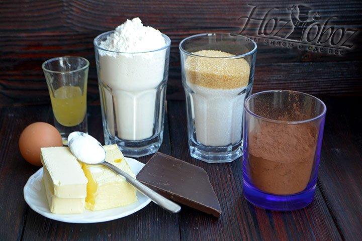 Готовим ингредиенты для приготовления шоколадного печенья брауни.