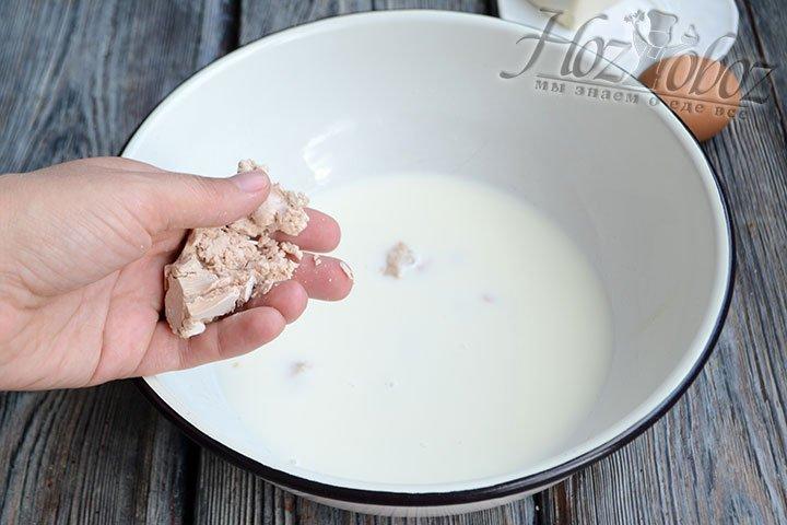 В теплом молоке растворяем дрожжи и добавляем 1 ст.ложку сахара.