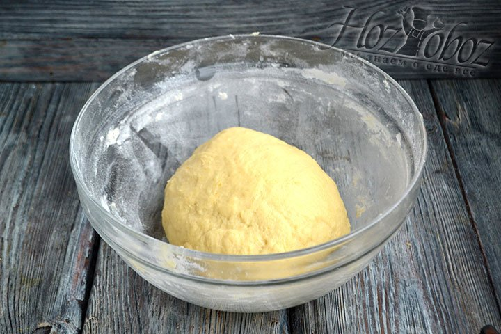 Мягкое, но уже не липкое тесто укладываем в миску и закрываем пищевой пленкой. Оставляем на 60-90 минут.