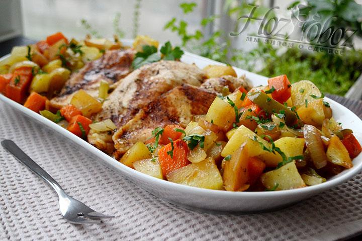 Полученное блюдо – полноценный обед для 4 человек.
