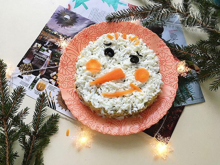 Оформляем «лицо» снеговика.
