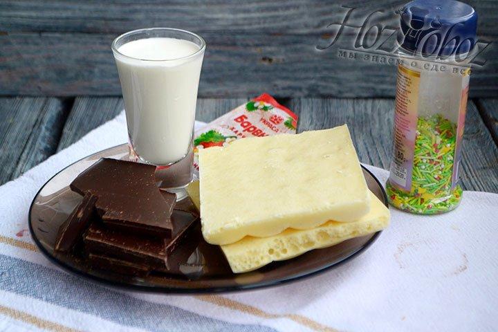 Подготовим ингредиенты для глазури – шоколад, сливки, красную краску и сахарные украшения.