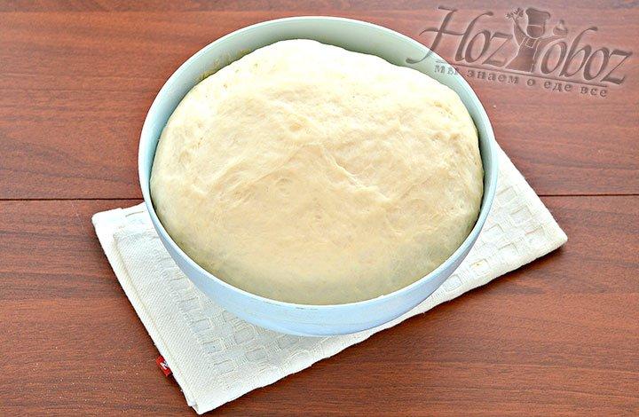 Готовое дрожжевое тесто через час.